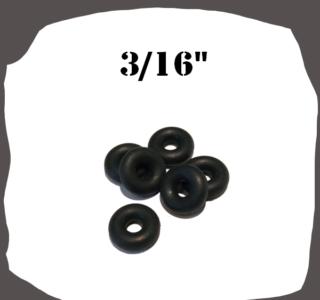 Black Rubber Ring 3/16'' for Pinball